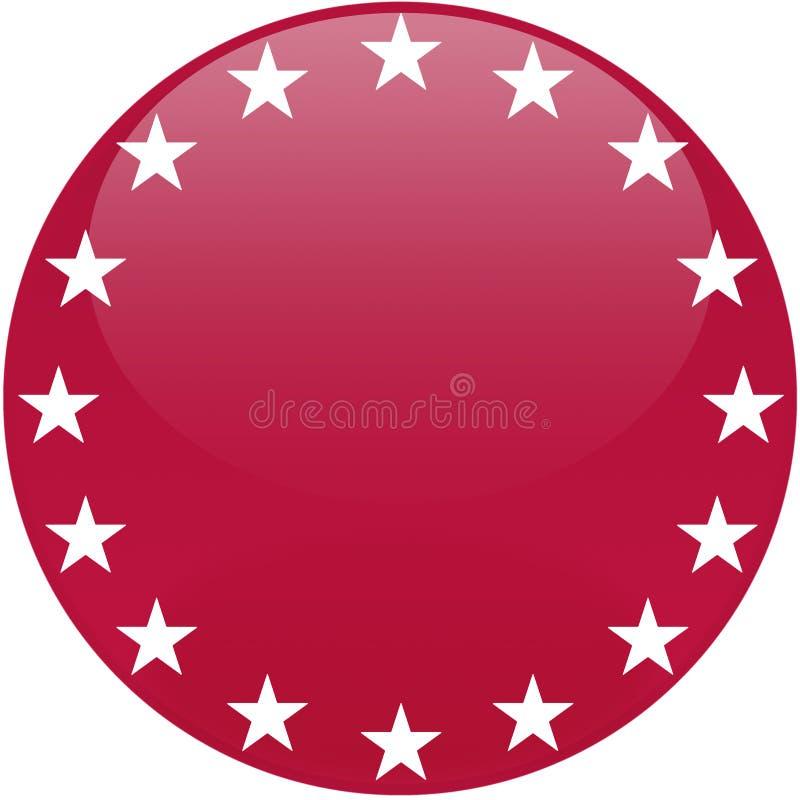 Botón rojo con las estrellas blancas stock de ilustración