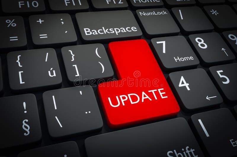 Botón rojo de la actualización en el teclado negro ilustración del vector