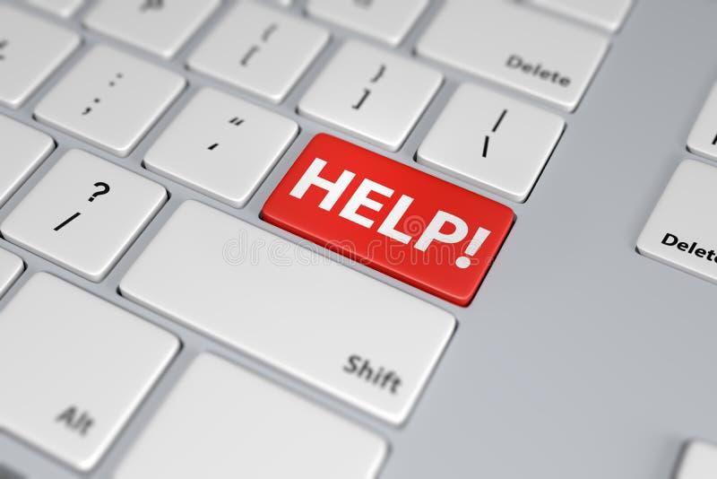 Botón rojo de la ayuda en el teclado blanco stock de ilustración