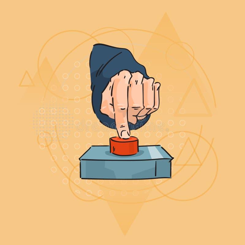 Botón rojo de la prensa del finger de la mano del hombre de negocios sobre fondo geométrico del triángulo libre illustration