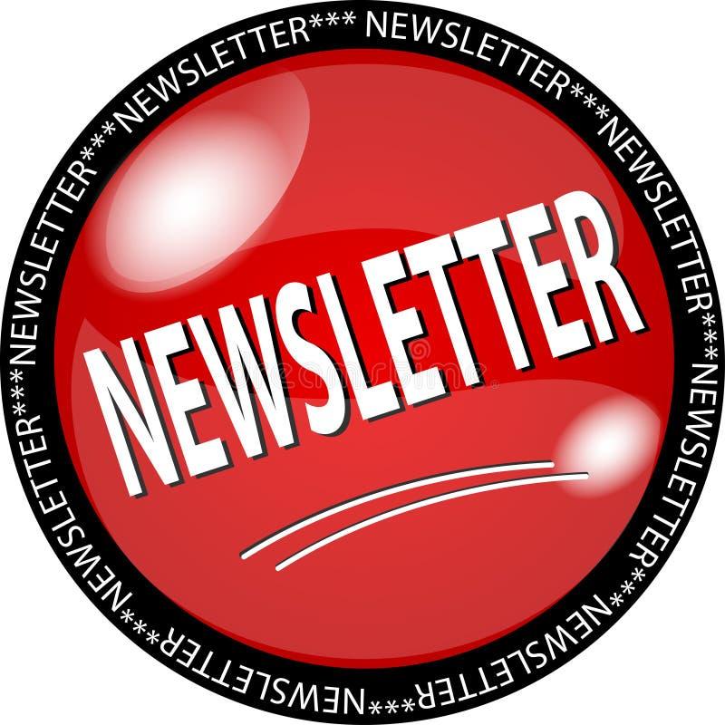 botón rojo del boletín de noticias ilustración del vector