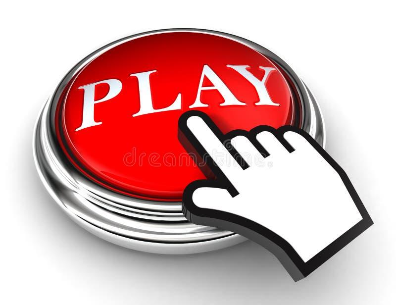 Botón rojo del juego y mano del puntero ilustración del vector