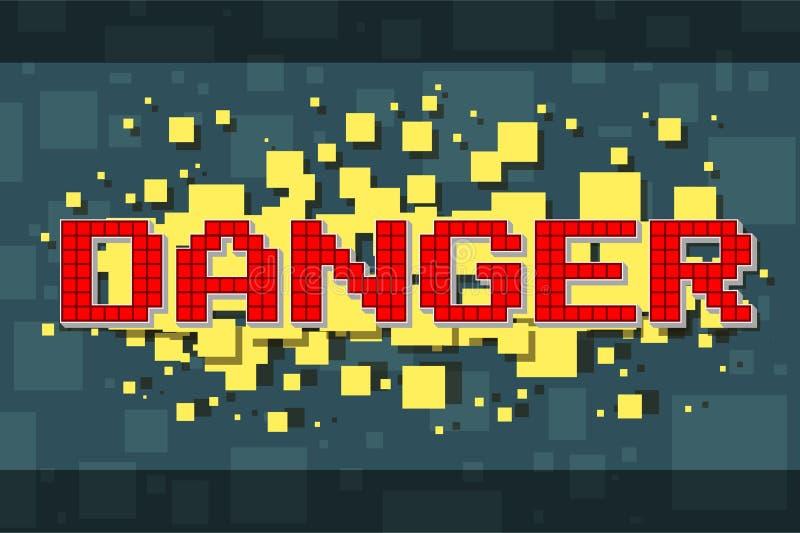 Botón rojo del peligro del pixel para los videojuegos stock de ilustración