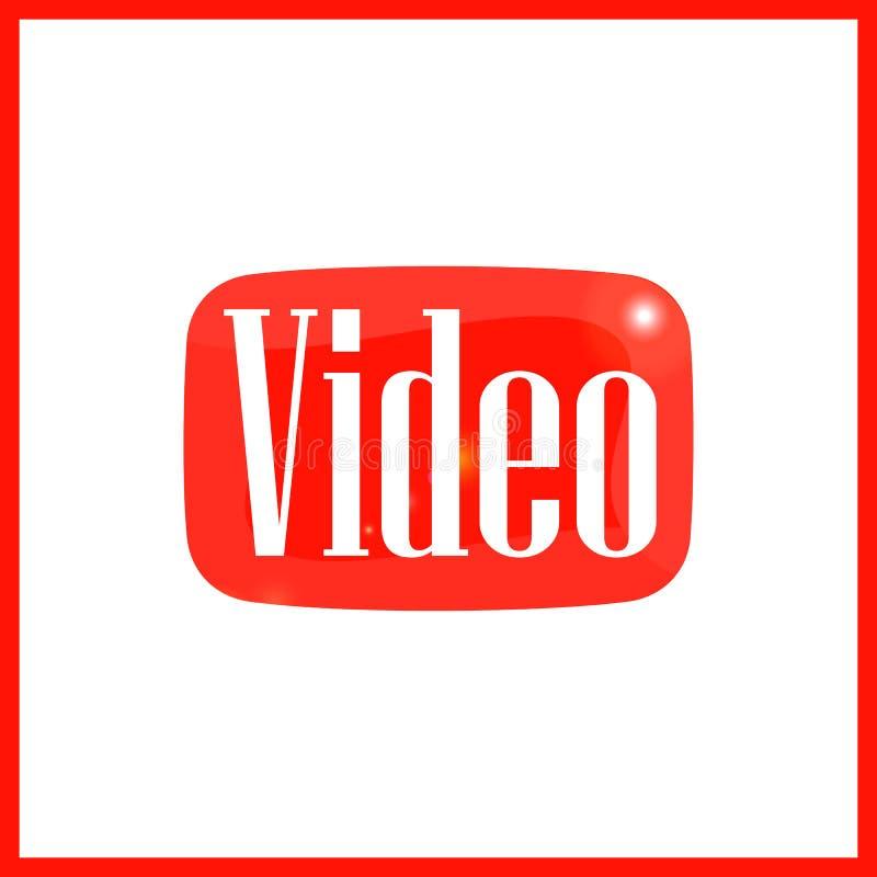 Botón rojo del vídeo stock de ilustración