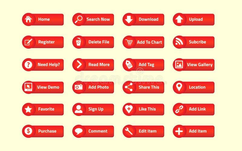 Botón rojo del Web stock de ilustración