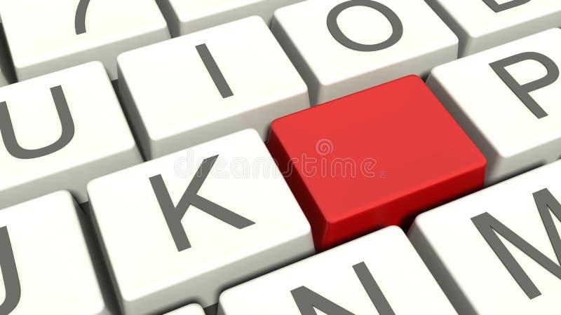 Botón rojo en blanco en el teclado stock de ilustración