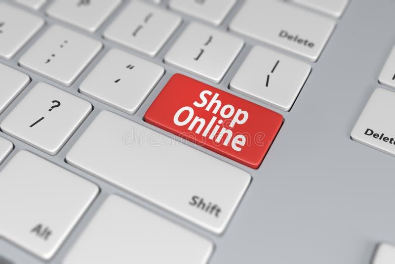 Botón rojo en línea de la tienda en el teclado blanco libre illustration