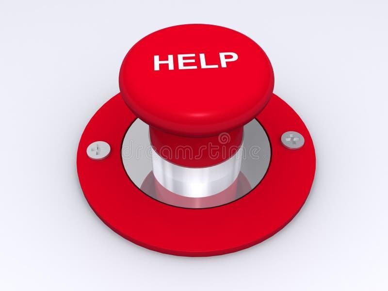 Botón rojo grande de la ayuda stock de ilustración
