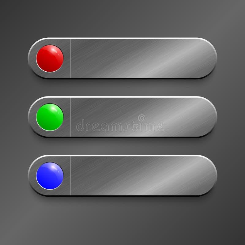 Botón rojo, verde, azul en vagos superficiales metálicos realistas de la textura fotos de archivo libres de regalías