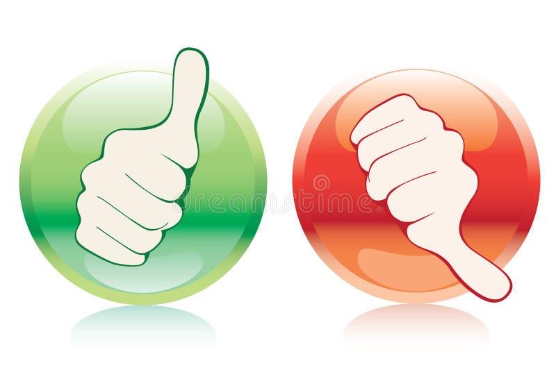 Botón rojo y verde stock de ilustración
