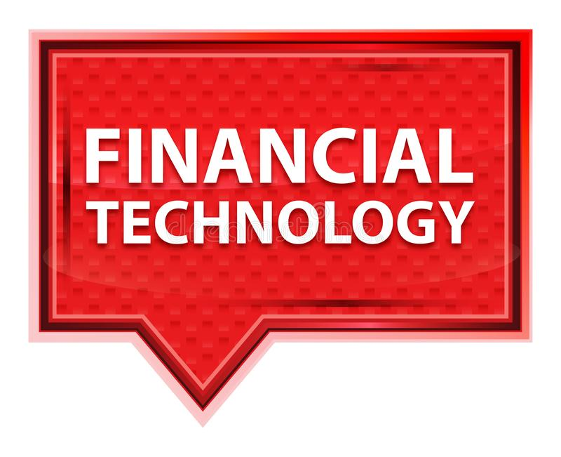 Botón rosado color de rosa brumoso de la bandera de la tecnología financiera stock de ilustración