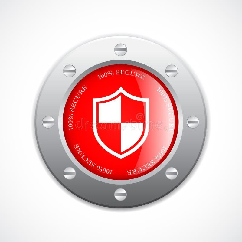 Botón seguro del web del metal sólido ilustración del vector