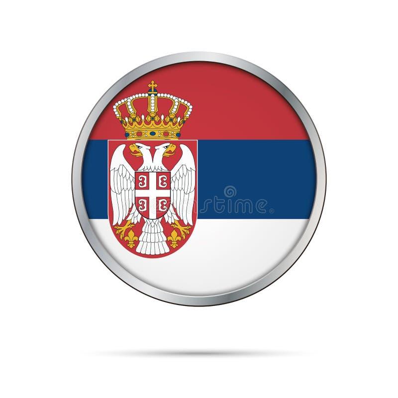 Botón servio de la bandera del vector Bandera de Serbia en el estilo de cristal del botón stock de ilustración
