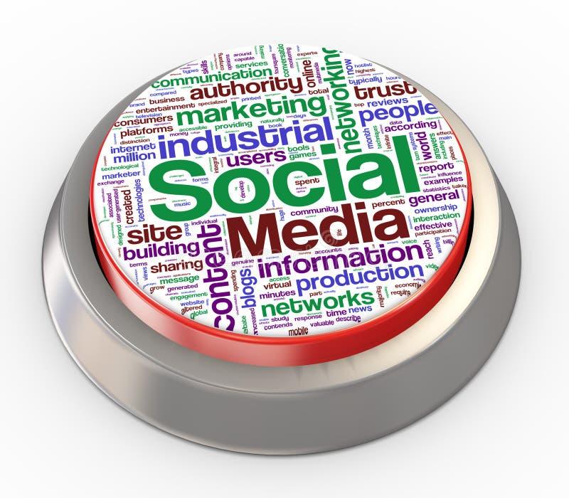 botón social de los media 3d stock de ilustración