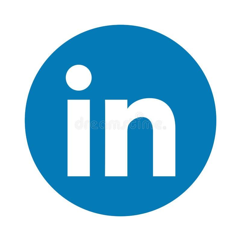 Botón social del icono de los medios de Linkedin ilustración del vector