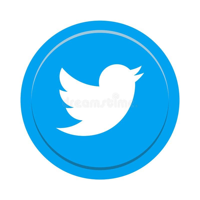 Botón social del icono de los medios de Twitter libre illustration