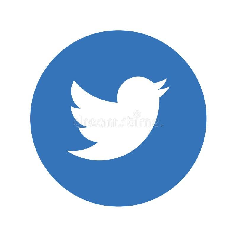 Botón social del icono de los medios de Twitter ilustración del vector