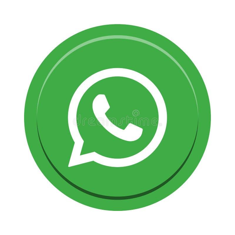 Botón social del icono de los medios de Whatsapp stock de ilustración