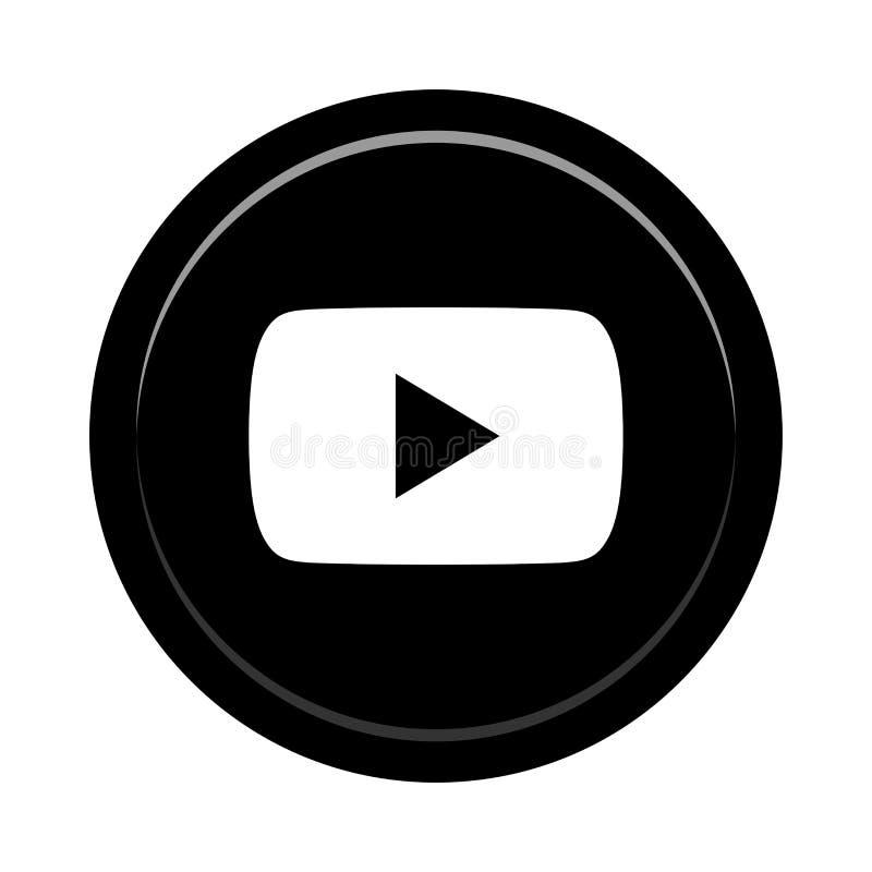 Botón social del icono de los medios de YouTube ilustración del vector