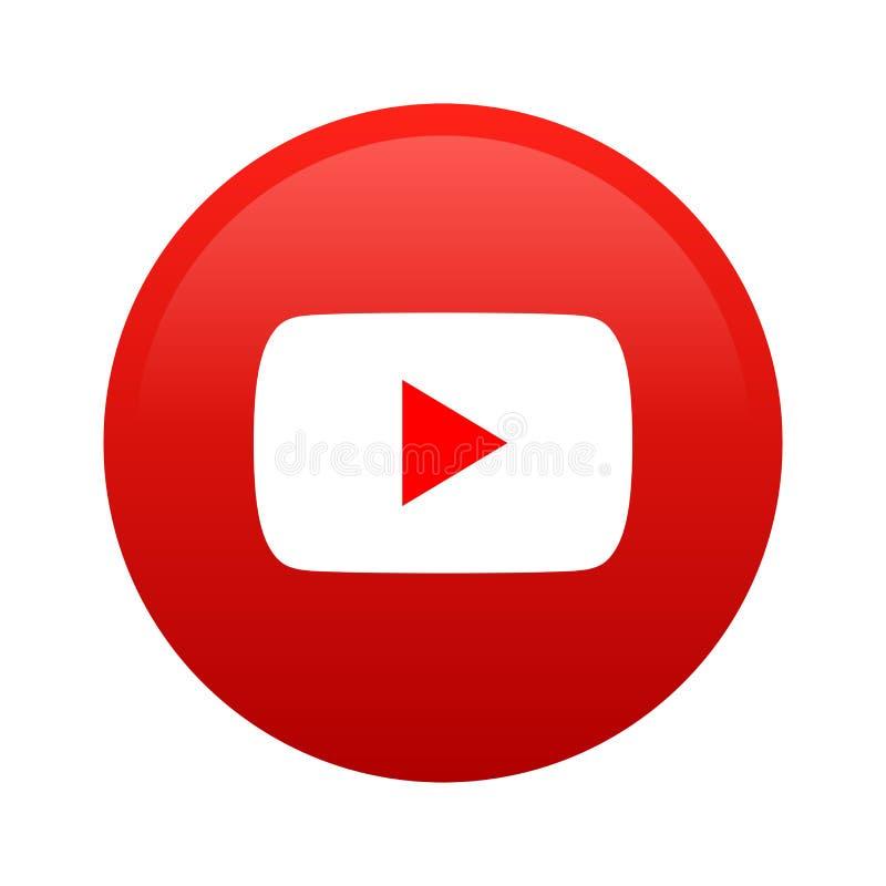 Botón social del icono de los medios de YouTube stock de ilustración
