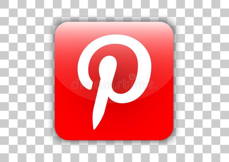 Botón social del icono del diseño blanco de Pinterest medios con símbolo dentro stock de ilustración