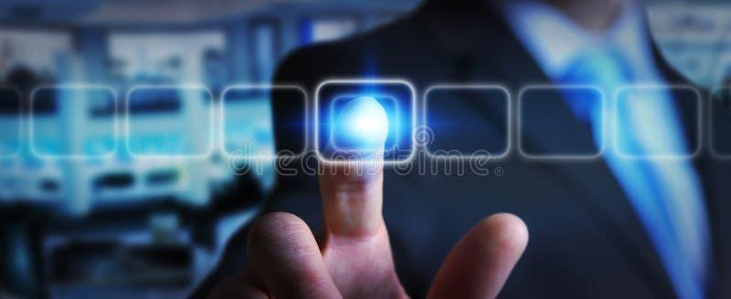 Botón táctil moderno conmovedor de la pantalla del hombre de negocios ilustración del vector