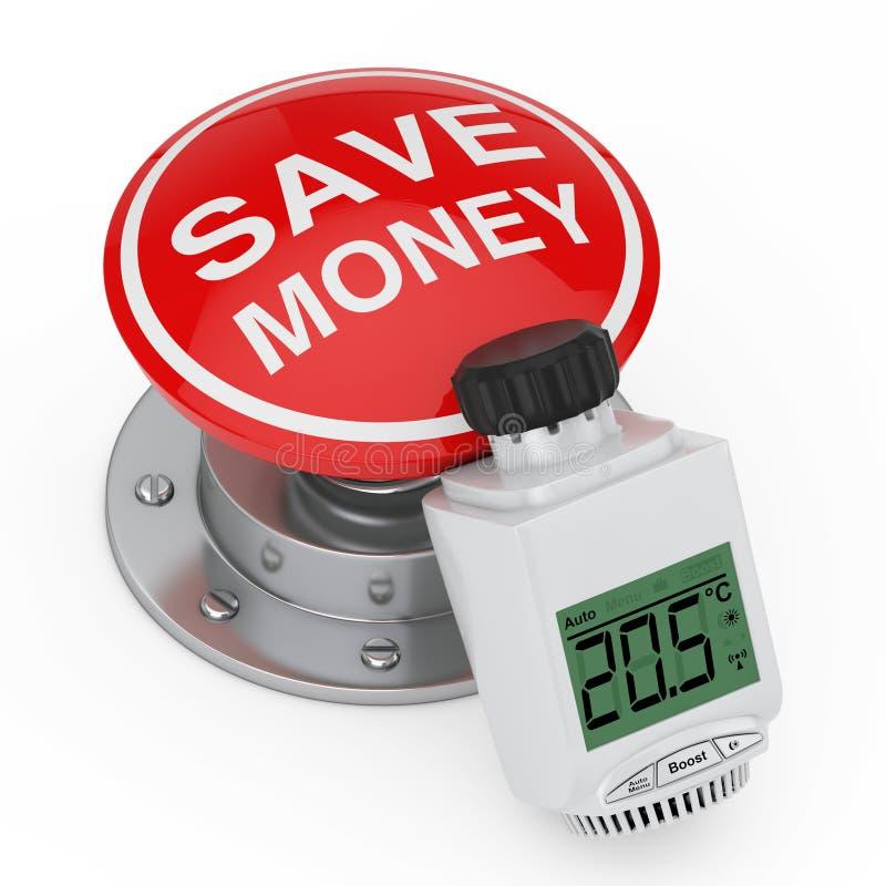 Botón termostático del botón rojo de Valvenear del radiador inalámbrico de Digitaces con la muestra del dinero de la reserva repr ilustración del vector