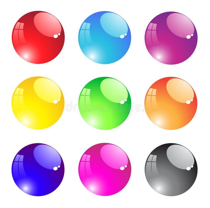 Botón transparente redondo del aqua stock de ilustración