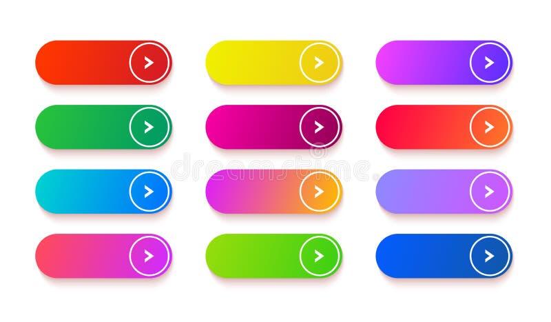 Botón vacío de la pendiente Sistema de elementos coloreado de la web del rectángulo del vector Botones brillantes largos ilustración del vector