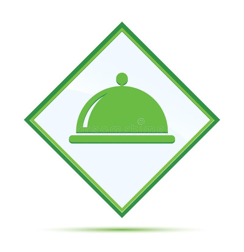 Botón verde abstracto moderno del diamante del icono de la cubierta de la comida ilustración del vector