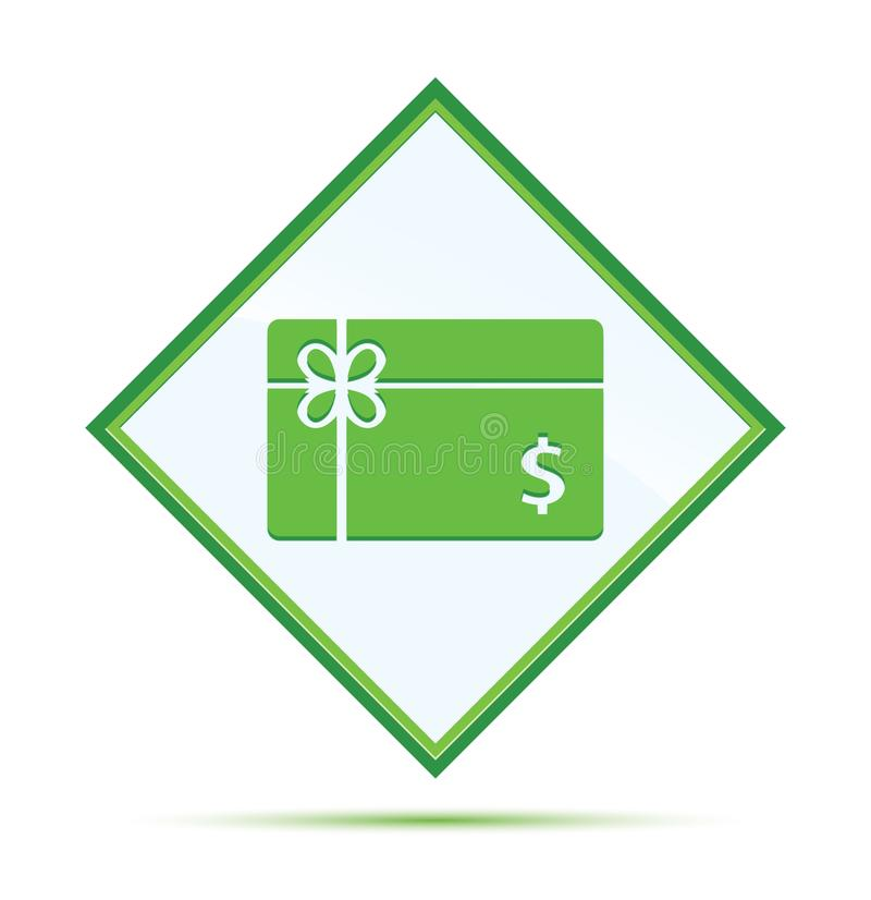 Botón verde abstracto moderno del diamante del icono de la muestra de dólar de la tarjeta de regalo ilustración del vector