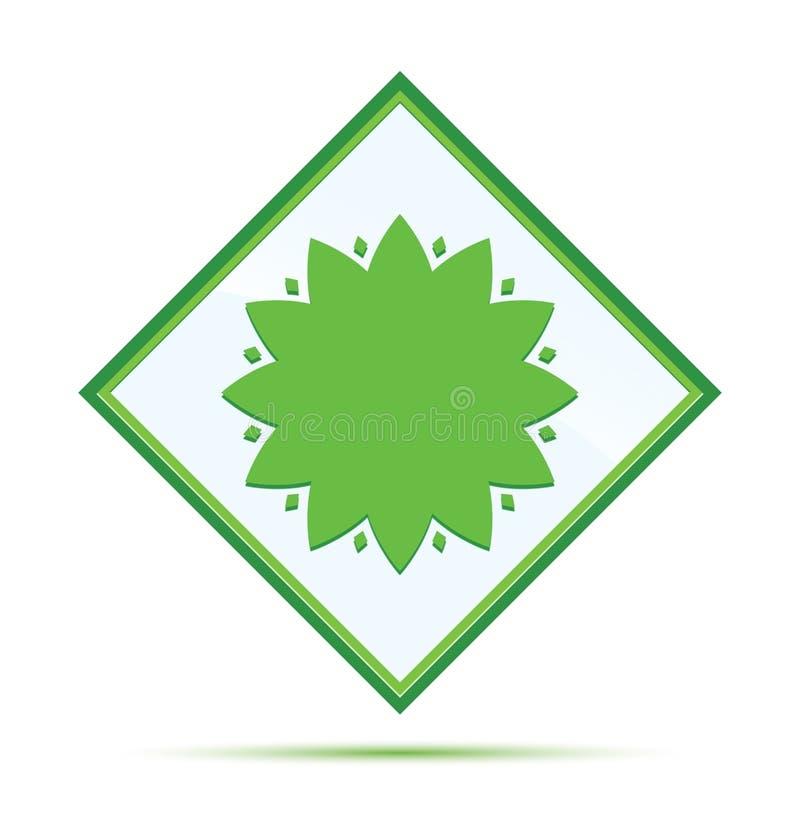 Botón verde abstracto moderno del diamante del icono frondoso de la flor stock de ilustración