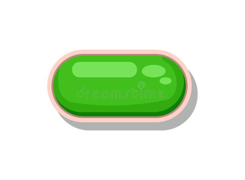Botón verde brillante para el interfaz de menú del juego stock de ilustración