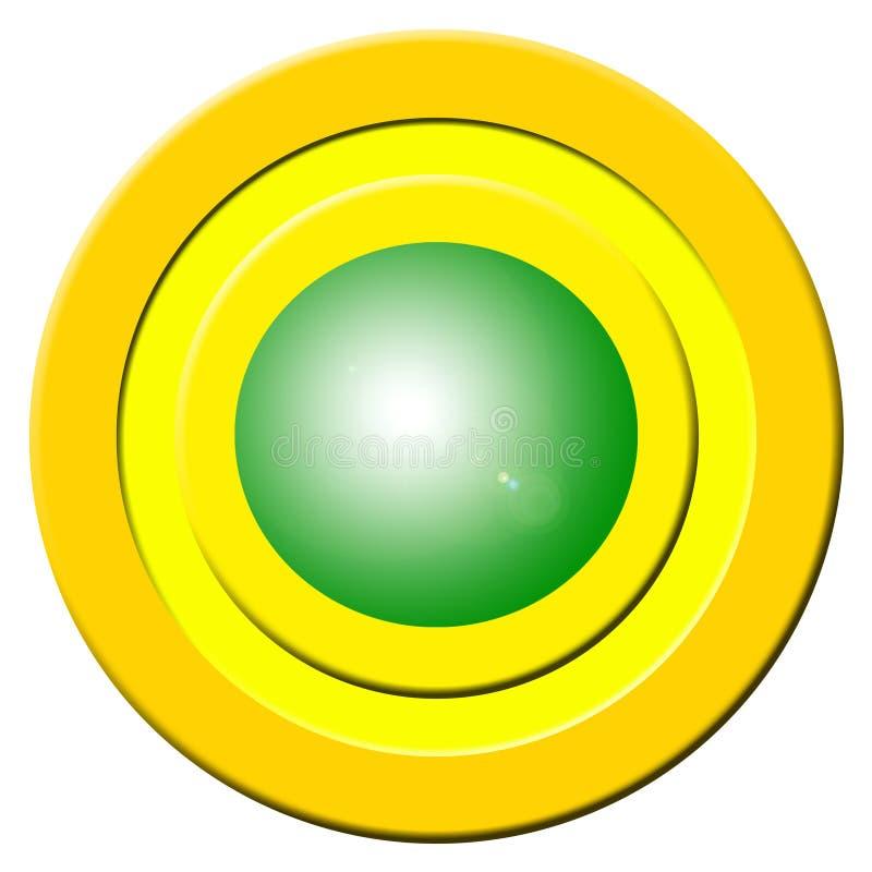 Botón verde de la señal sonora stock de ilustración
