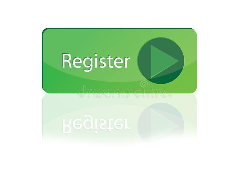 Botón verde grande del registro stock de ilustración