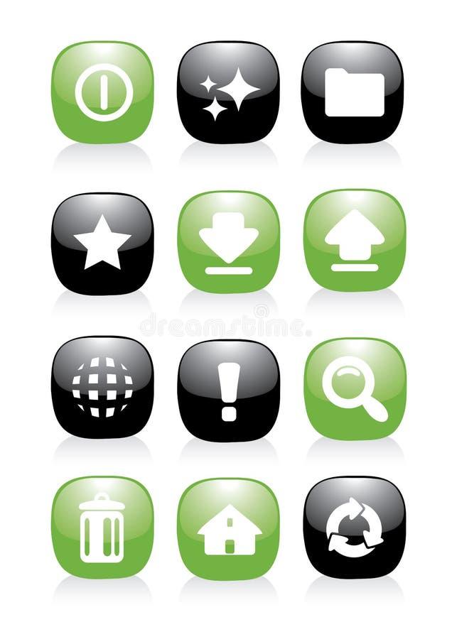 Botón verde y negro del icono fotografía de archivo