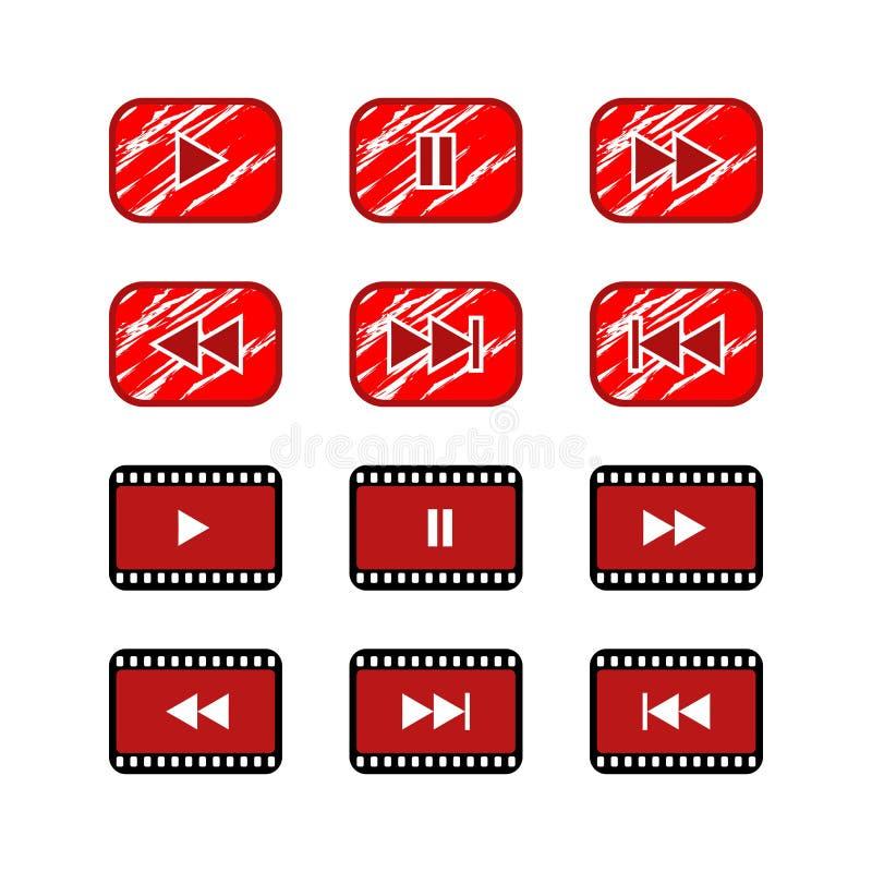 Botón video del icono de la página web del botón de reproducción de Ruster libre illustration