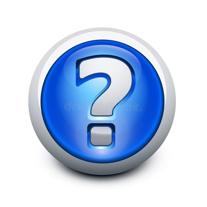 Botón vidrioso con el signo de interrogación stock de ilustración