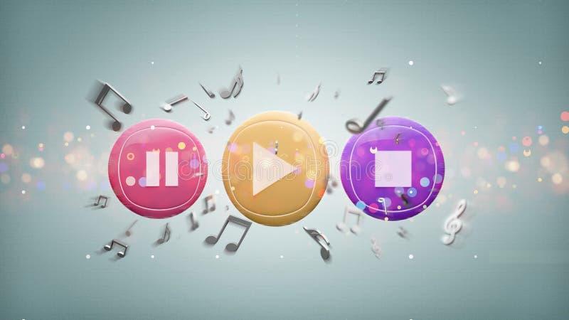 Botón y notas de la música que juegan en una representación del fondo 3d libre illustration