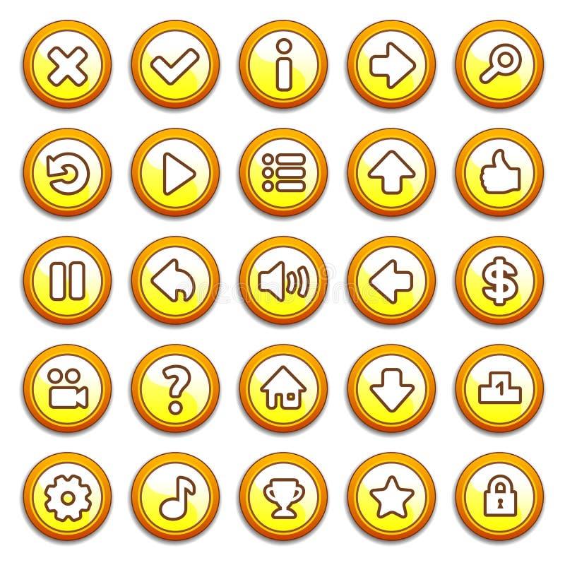 Botões amarelos, redondos do menu do jogo ilustração royalty free
