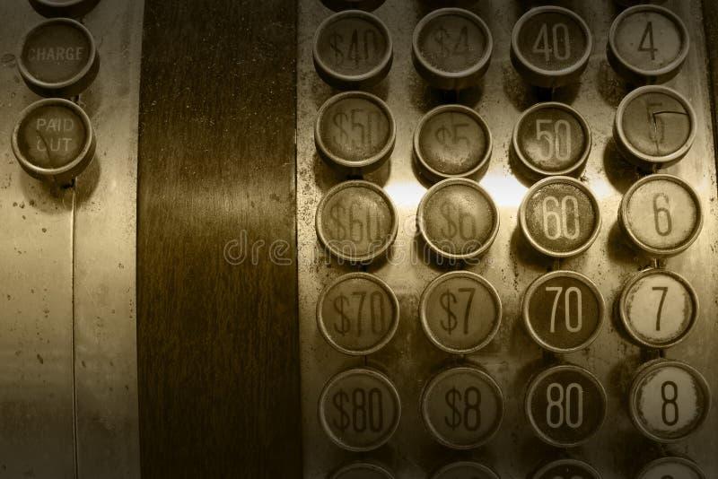 Botões Antigos Monocromáticos Da Caixa Registadora Imagem de Stock Royalty Free