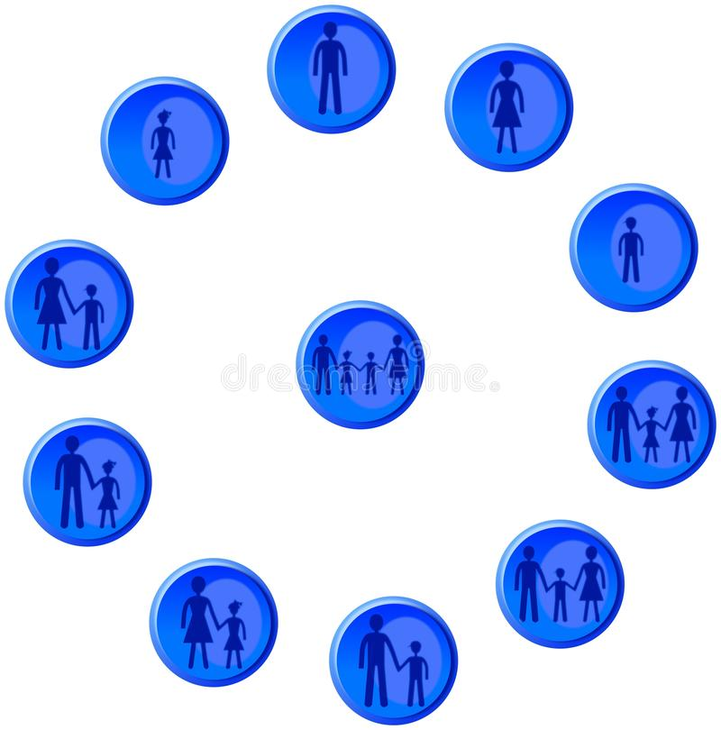 Botões azuis com figuras do homem, da mulher, da criança e da família ilustração stock