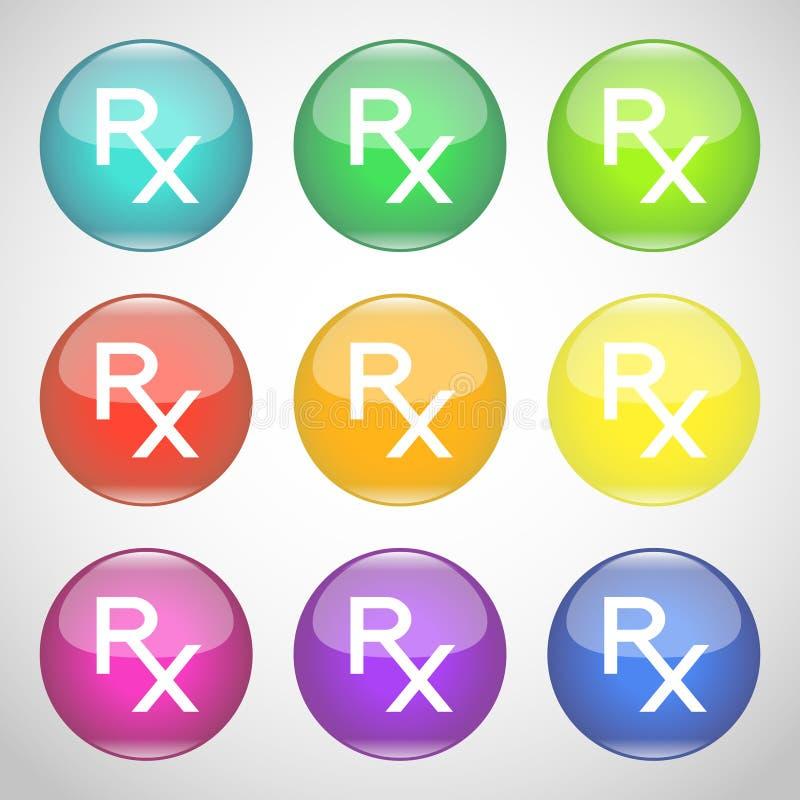Botões brilhantes de Rx Grupo colorido de símbolos da prescrição Medicina e farmácia Ilustração do vetor ilustração royalty free