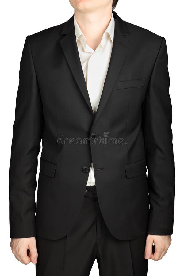 Botões cinzentos escuros do blazer dois dos homens, camisa branca sem laço fotos de stock royalty free