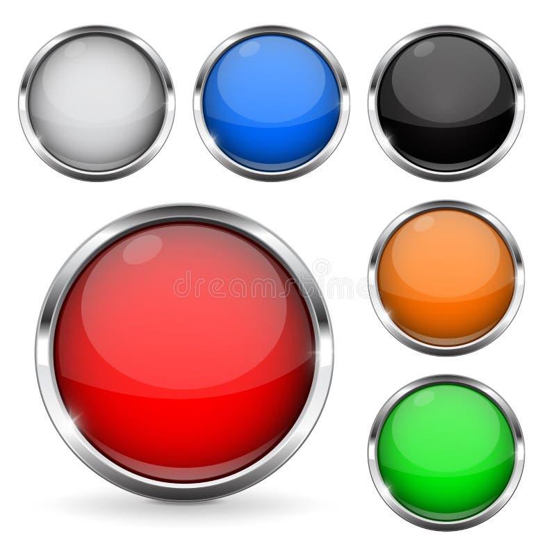 Botões coloridos com quadro do cromo Ícones 3d brilhantes de vidro redondos ilustração royalty free