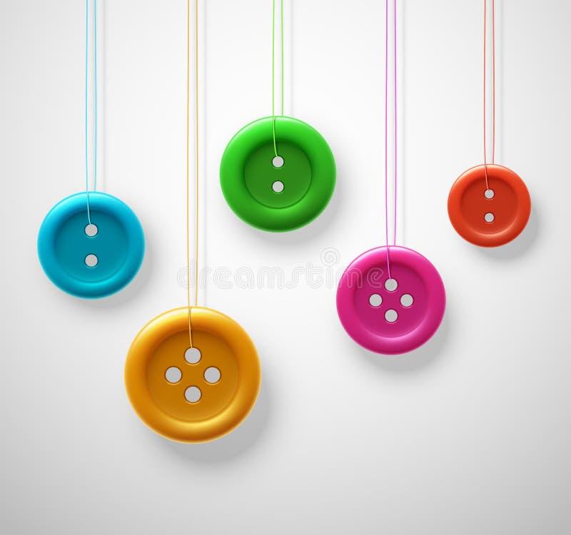 Botões coloridos da costura ilustração do vetor