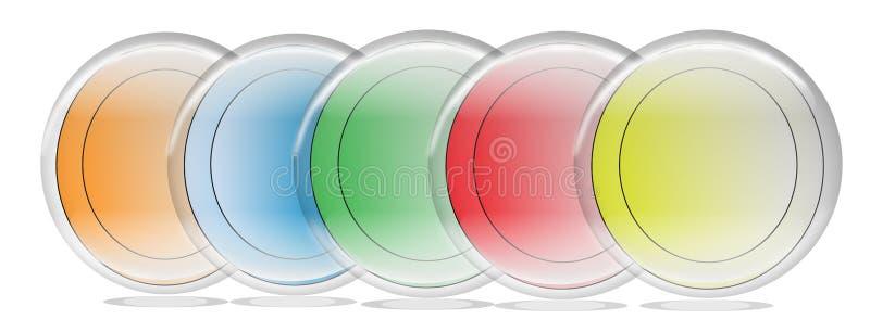 Botões coloridos de uns cinco arcos-íris para o uso da Web ilustração do vetor
