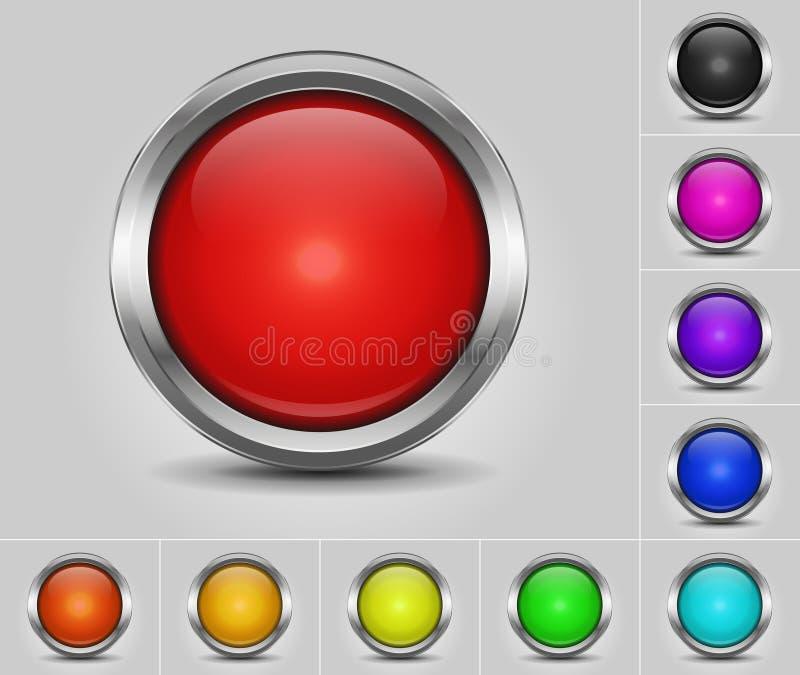 Botões coloridos redondos com beira metálica ilustração royalty free