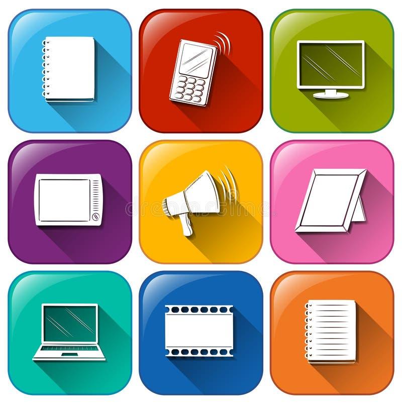 Botões com as ferramentas diferentes de uma comunicação ilustração do vetor