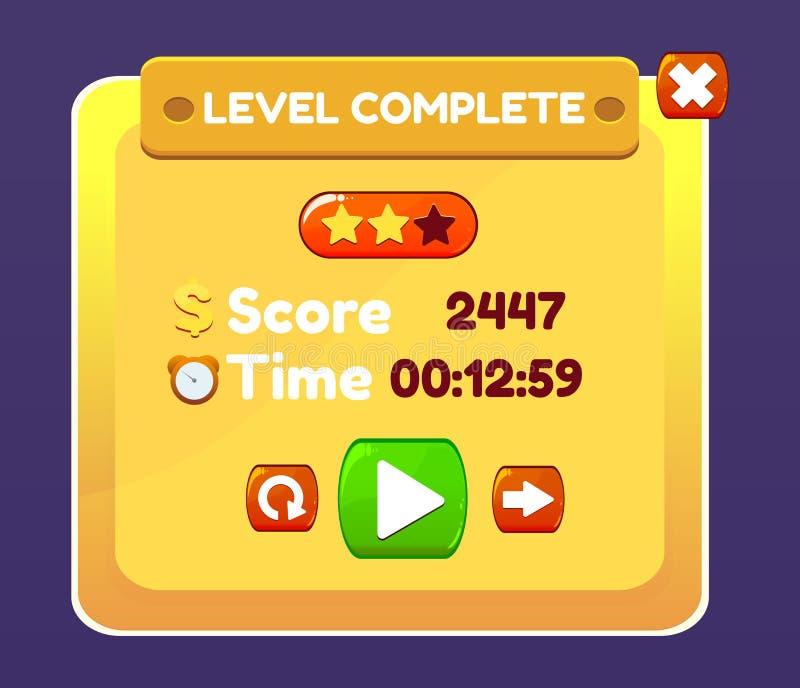 Botões completos nivelados amarelos dos ícones do jogo ilustração do vetor